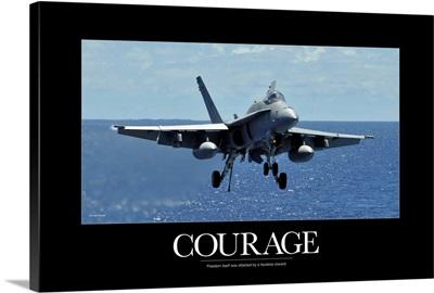 Military Poster: An F/A-18C Hornet approaches the flight deck of an aircraft carrier