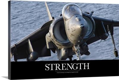 Military Poster: Close-up view of an AV-8B Harrier II