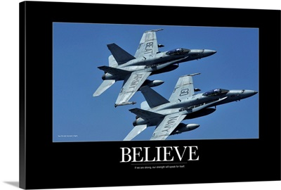 Military Poster: Two F/A-18C Hornets in flight