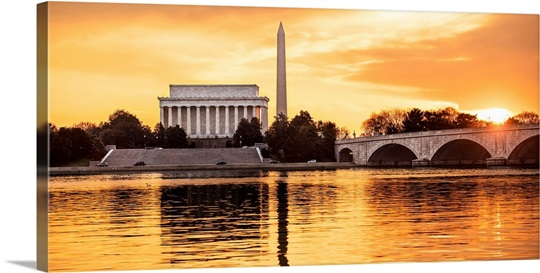 Washington Dc Wall Art monuments in washington, dc, at sunset wall art, canvas prints