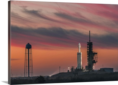 Morning Of Falcon Heavy Demo Mission, Kennedy Space Center, Florida