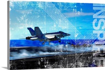 Motivational Grunge Poster: An F/A-18E Super Hornet catapults from an aircraft carrier