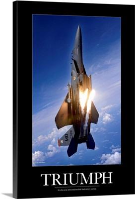 Motivational Poster: An F-15E Strike Eagle pops flares