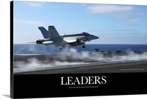Motivational Poster: An F/A-18E Super Hornet catapults from an aircraft carrier