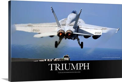 Motivational Poster: An F/A-18E Super Hornet takes off