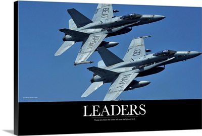 Motivational Poster: Two F/A-18C Hornets in flight