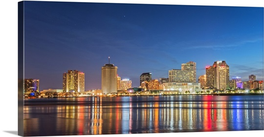 New Orleans Skyline At Night Canvas