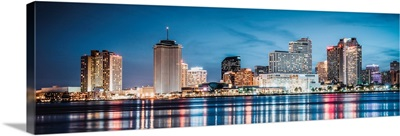 New Orleans Skyline Colorful Reflections - Panoramic
