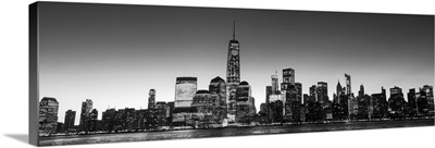 New York City Skyline in the Evening, Black and White