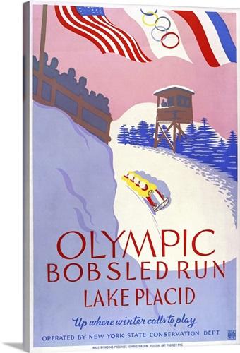 olympic bobsled run lake placid wpa poster wall art canvas