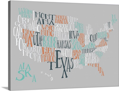 Orange Taffy US Typography Map