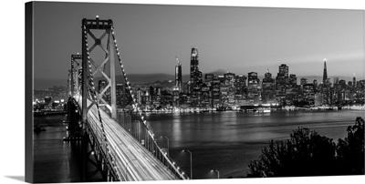 Panoramic Black and White photograph of Bay Bridge, San Francisco