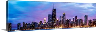Panoramic Chicago Skyline at Night