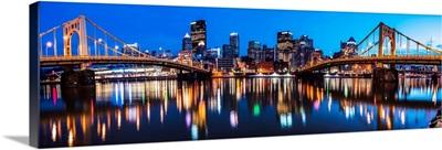 Panoramic Pittsburgh City Skyline at Night