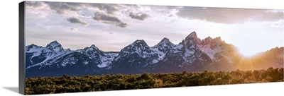 Panoramic Sunrise Over Teton Range, Grand Teton National Park, Wyoming