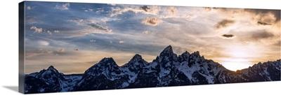 Panoramic Teton Range In The Morning, Grand Teton National Park, Wyoming