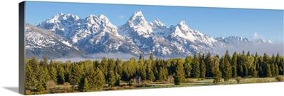 Panoramic Teton Range With Conifers, Grand Teton National Park, Wyoming