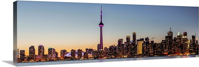 Panoramic Toronto City Skyline at Night