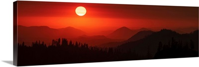 Panoramic View Of A Red Sky, Sequoia National Park, California