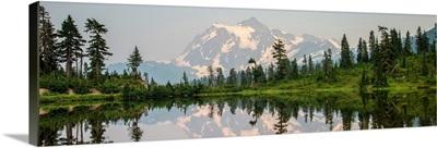 Panoramic View Of Picture Lake And Mount Shuksan, Mount Baker Wilderness, Washington