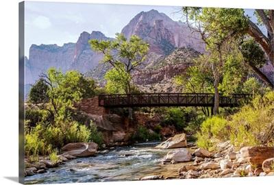 Pa'rus Trail Bridge and Virgin River, Zion National Park, Utah