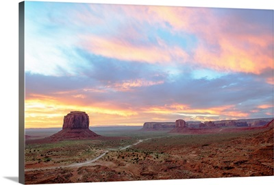Pastel Sunrise Over Merrick Butte And John Ford Point, Monument Valley, Arizona