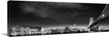Philadelphia City Skyline at Night with Benjamin Franklin Bridge, Black and White