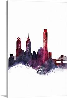 Philadelphia Watercolor Cityscape