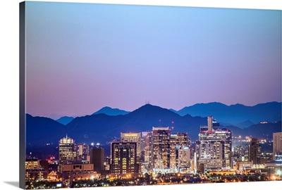 Phoenix, AZ Skyline with Colorful Sunset