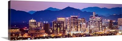 Phoenix, AZ Skyline with Colorful Sunset - Panoramic