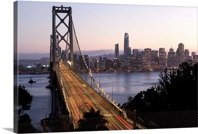 Pink and Purple Sunset Over Bay Bridge, San Francisco