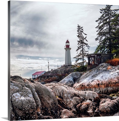 Point Atkinson Lighthouse And Rocky Shore, Vancouver, British Columbia, Canada