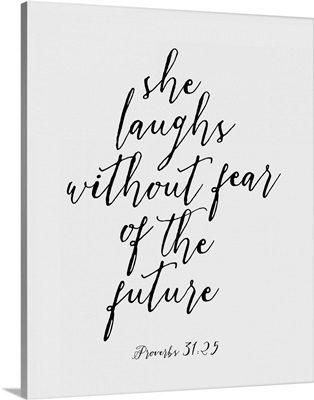 Proverbs 31:25 - Scripture Art in Black and White