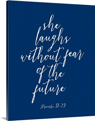 Proverbs 31:25 - Scripture Art in White and Navy
