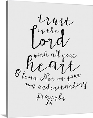 Proverbs 3:5 - Scripture Art in Black and White