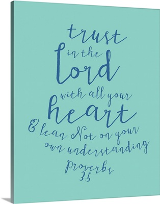 Proverbs 3:5 - Scripture Art in Blue and Teal