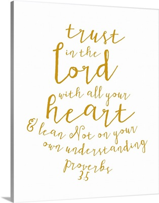 Proverbs 3:5 - Scripture Art in Gold and White