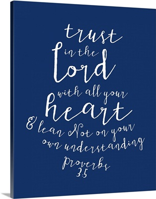 Proverbs 3:5 - Scripture Art in White and Navy