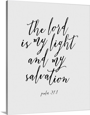 Psalm 27:1 - Scripture Art in Black and White