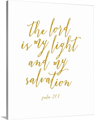 Psalm 27:1 - Scripture Art in Gold and White