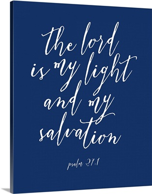 Psalm 27:1 - Scripture Art in White and Navy
