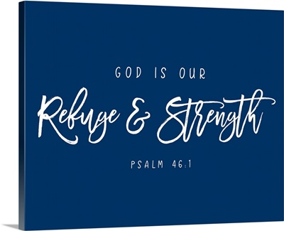 Psalm 46:1 - Scripture Art in White and Navy