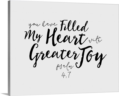 Psalm 4:7 - Scripture Art in Black and White