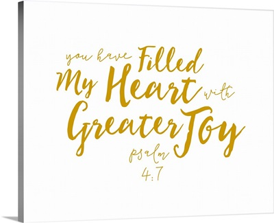 Psalm 4:7 - Scripture Art in Gold and White