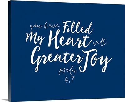 Psalm 4:7 - Scripture Art in White and Navy