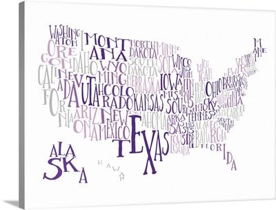 Purples US Typography Map