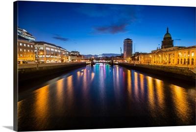River Liffey at Night with the Custom House, Dublin, Ireland
