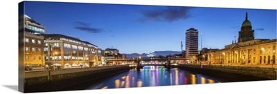River Liffey at Night with the Custom House, Dublin, Ireland - Panoramic