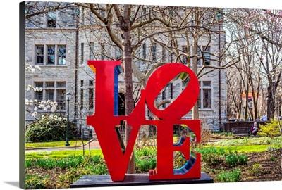 Robert Indiana's Love sculpture at University of Pennsylvania