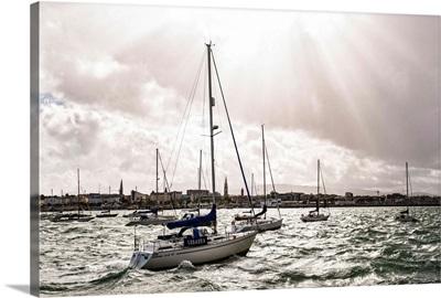 Sailboats on River Liffey, Dublin, Ireland - Landscape